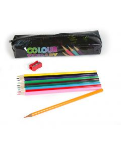 Colour Therapy Pencil Case with 10 Pencils & Sharpener