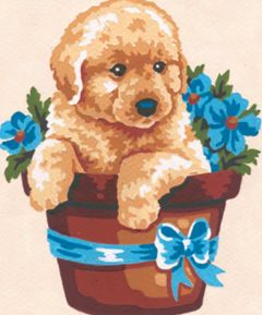 Collection D'Art Puppy In Flower Pot Tapestry Kit