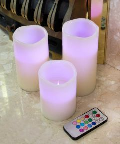 Colour Changing Flameless LED Candles - Pack of 3