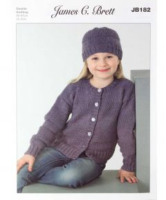 James C Brett Girls Cardigan Hat Set Knitting Pattern DK JB182