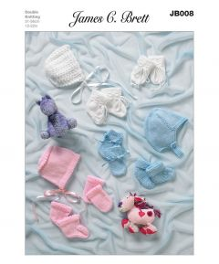 James C Brett Baby Bonnets & Mittens Knitting Pattern JB008