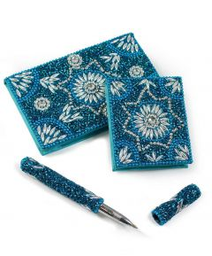 Blue Jewelled Notebook Set
