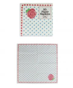Napkins Blue Spots/Pink Rose - Pack of 30