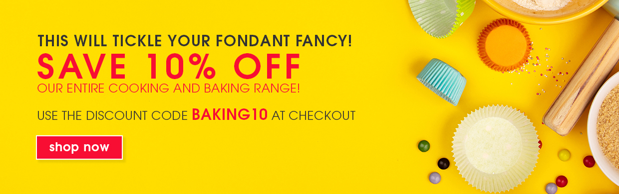 Save 10% off our entire range of Cooking and Baking - use the discount code BAKING10 at checkout